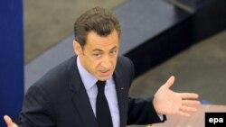 Виступ президента Франції Ніколя Саркозі на парламентській сесії Євросоюзу у Страцбурзі, 21 жовтня 2008 р.