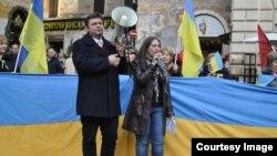 Український Євромайдан у Римі, 22 грудня 2013 року, фото Надії Шпитковської