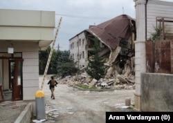 Damaged buildings in Stepanakert