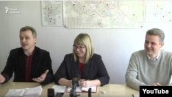 Лідэры АГП, БХД, Руху «За Свабоду» Анатоль Лябедзька, Вольга Кавалькова і Юрась Губарэвіч
