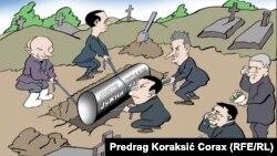 Caricatură politică de Pregrag Koraksić Corax