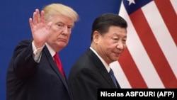 АҚШ президенті Дональд Трамп пен Қытай төрағасы Си Цзиньпин. Пекин, 9 қараша 2017 жыл.