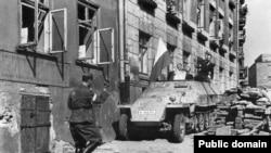 Захоплены паўстанцамі нямецкі БТР, 14 жніўня 1944.