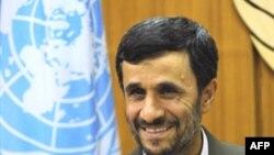 Iranian President Mahmud Ahmadinejad at UN headquarters in New York