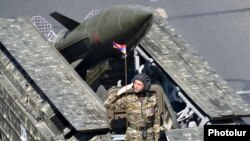 Armenia - The Armenian military demonstrates a Russian-made Tochka missile during a parade in Yerevan, 21Sep2016.