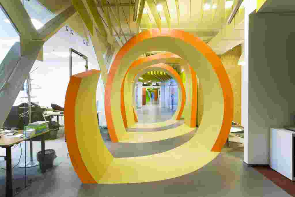The spiral patterns appear to be decorative, but separate passageways from work spaces.