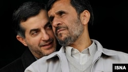 Iranian President Mahmud Ahmadinejad (right) and adviser Esfandiar Rahim Mashaei, tipped by Iran's state-controlled media as Ahmadinejad's handpicked successor.