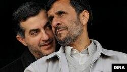 Iranian President Mahmud Ahmadinejad (right) and adviser Esfandiar Rahim Mashaei, tipped by Iran's state-controlled media as Ahmadinejad's handpicked successor.
