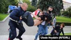 Nearly 130 protesters were detained in Minsk during July 14 demonstrations against the disqualification of presidential candidates.