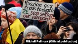 Kiyevdə ŞimalAxını2 layihəsinə qarşı etirazlardan birində