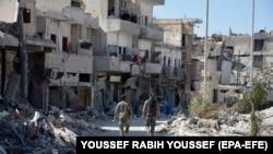 Экстремистерден азат етілген Ракка қаласы. Сирия, 18 қазан 2017 жыл.