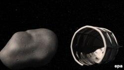 Астероидди кармап калуучу көлүк-робот (иллюстрация).