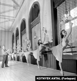 Hungary's state ballet troupe in training in 1955.