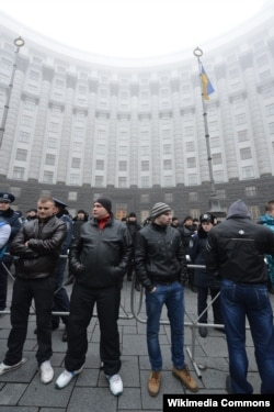 "Ultras formed self-defense groups to protect pro-democracy demonstrators from police and pro-government thugs known as ""titushky"" (pictured)."
