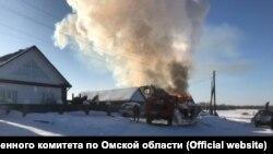 Пожар в доме в селе Седельниково