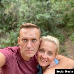 Aleksei Navalny and his wife, Yulia, in Germany