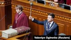 Владимир Зеленский во время инаугурации в Верховной Раде Украины. 20 мая 2019 года