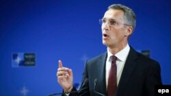 New NATO Secretary-General Jens Stoltenberg gives his first press conference at alliance headquarters in Brussels on October 1.