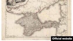 Силуэт Крыма на старой карте