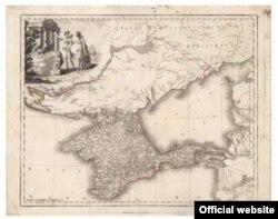 Карта Крыма времен первой аннексии с обозначением множества селений, ныне исчезнувших из-за нескольких потоков эмиграции и окончательной депортации его жителей