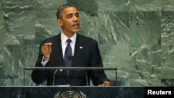 U.S. President Barack Obama addresses the 67th UN General Assembly in New York on September 25.