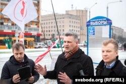 Анатоль Лябедзька, Юрась Губарэвіч і Віталь Рымашэўскі (зьлева направа)