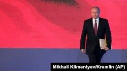 Președintele Vladimir Putin se adresează camerelor reunite ale Parlamentului, Moscova, 1 martie 2018