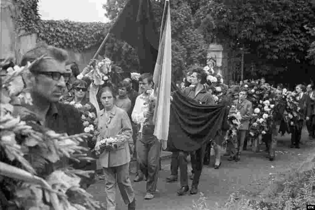 Mourners attend the funeral of 20-year-old Milan Kadlec, who was killed during the invasion.