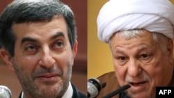 Iranian presidential candidates Esfandiar Rahim Mashaei (left) and Akbar Hashemi Rafsanjani