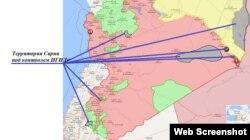 Территории Сирии под контролем ИГИЛ (скриншот из isis.liveuamap.com, 12 декабря 2017 г)