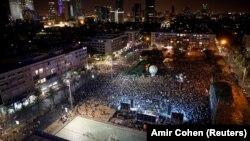 Pamje nga protesta e mbrëmshme në Tel Aviv në mbështetje të shtetit palestinez