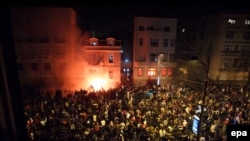 Demonstrators tried to storm the U.S. Embassy in Belgrade and set part of it ablaze in February 2008 as tens of thousands of people took to the streets of the Serbian capital to protest Kosovo's declaration of independence. (file photo)