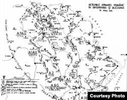 O hartă a acțiunilor armatei române în 1918