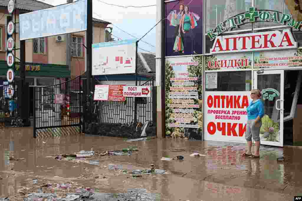 A flooded street in Krymsk