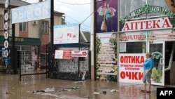 A street in the city of Krymsk after it was hit by a deluge over the past weekend.