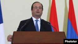 Armenia - French President Francois Hollande speaks at a news conference in Yerevan, 13May2014.