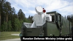A still image from a Russian Defense Ministry video shows what appears to be a truck-mounted laser weapon known as the Peresvet.