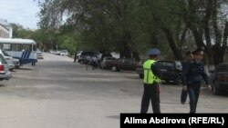 A police cordon near the scene of the suicide attack in Aktobe.