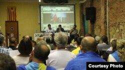 Проросійська лекція у Барселоні (фото надане Христиною Грищук)