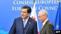 Herman Van Rompuy și Mihail Saakashvili la Bruxelles