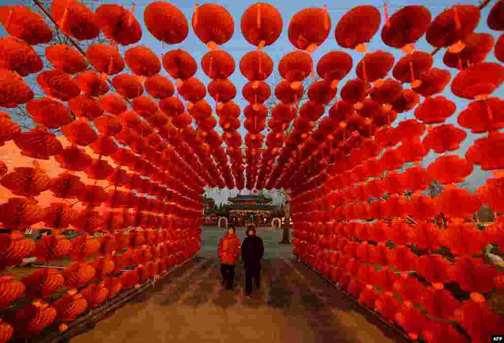 A couple walks beneath a display of lanterns for the Lunar New Year as China prepares for the Year of the Horse in Beijing. (AFP/Mark Ralston)