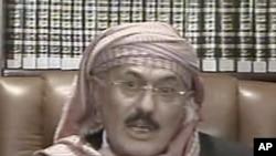 Йемен президенті Әли Абдулла Салехтің ұлттық телеарна арқылы үндеу жасап отырған сәті. 25 қыркүйек 2011 жыл.