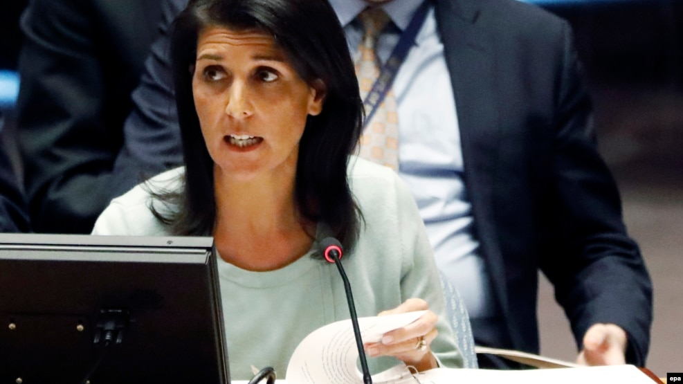 U.S. Ambassador to the United Nations Nikki Haley speaks to the UN Security Council on February 2.