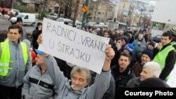 Protest radnika Vranice u januaru 2012.