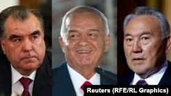 Фото президентов Таджикистана Эмомали Рахмона, Узбекистана Ислама Каримова, Казахстана Нурсултана Назарбаева.
