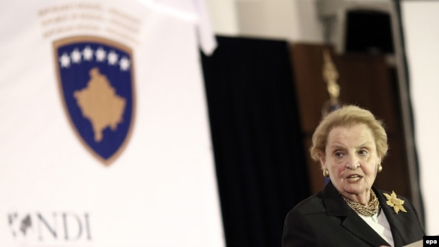 "Madeleine Albright at the opening of the ""International Women's Summit"" in Pristina on October 4."