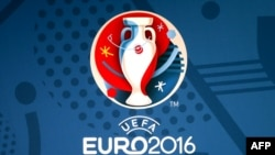 France -- The Euro 2016 finals logo uveiled in Paris, 26Jun2013