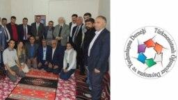Лидер Ассоциации солидарности и помощи студентам из ТуркменистанаОмрузак Умаркулиевым (крайний слева) с соотечественниками и сторонниками.