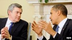 Вашингтон -- Президент Барак Обама менен британ премьери Гордон Браун.