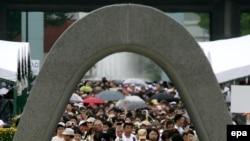 Хиросимадағы атом бомбасы құрбандарын еске алу шарасы. Жапония, 6 тамыз 2014 жыл.